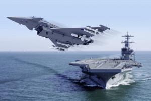 jagdjet über flugzeugträger